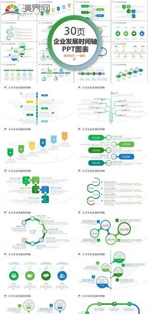 簡約公司企業發展時間軸圖表設計PPT模板