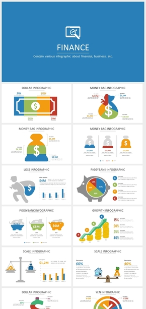 金融财务金钱卡通信息图表ppt模板
