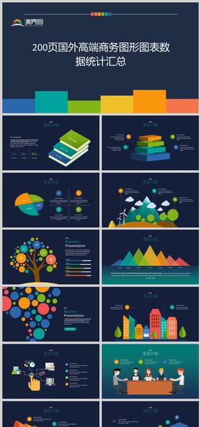 200頁國外高端商務通用圖形圖表數據統計PPT模板