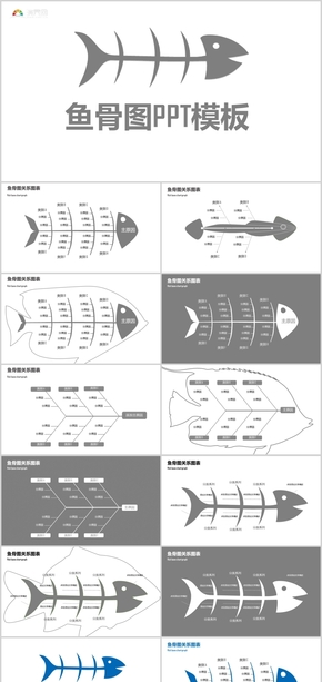 QC品管圈管理咨詢精選魚骨圖PPT模板
