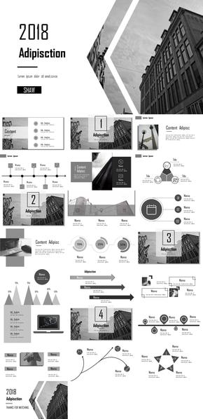 黑白灰商务简约风格PPT模板