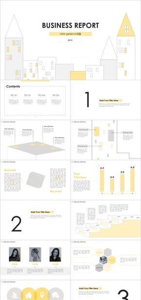 2019商业报告简洁大方灰黄杂志风工作汇报总结求职答辩通用模板