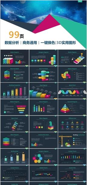 99页商务大型精美可编辑数据图表