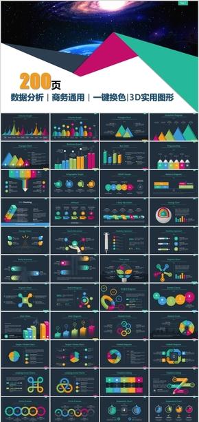 200页商务大型精美可编辑数据图表