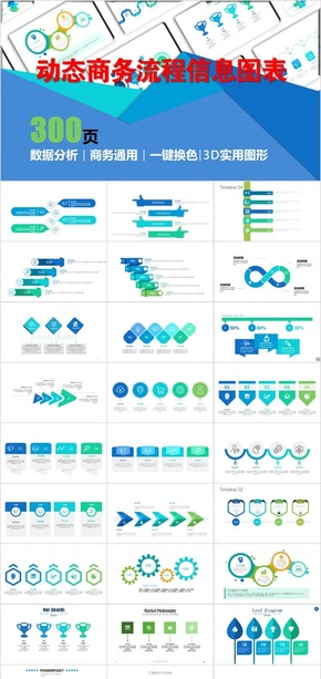 动态商务实用通用流程信息图表5
