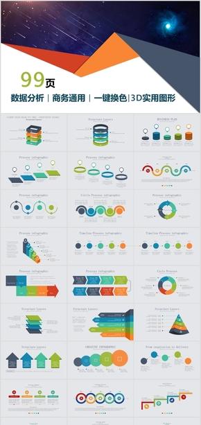 商务会议业务精美动画数据图形图表