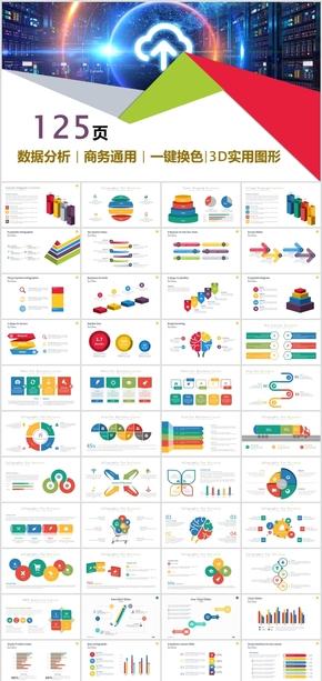 125页商务立体动态可编辑数据图表