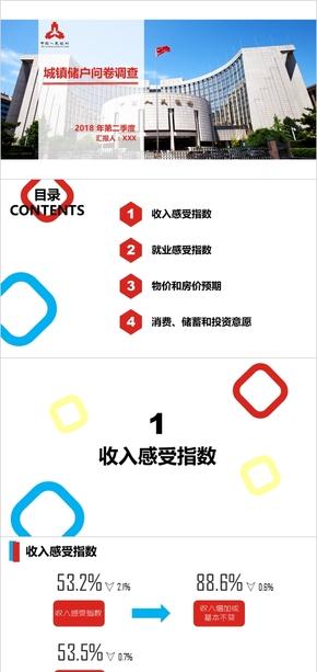 简约清新红白蓝银行调查报告PPT作品