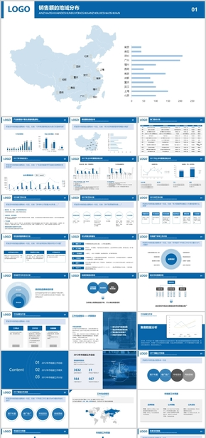 蓝色极简工作汇报ppt,ppt图表,年中总结,部门汇报
