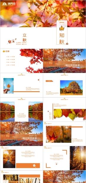 橙色秋季枫叶主题杂志简约广告设计工作汇报产品发布PPT模板