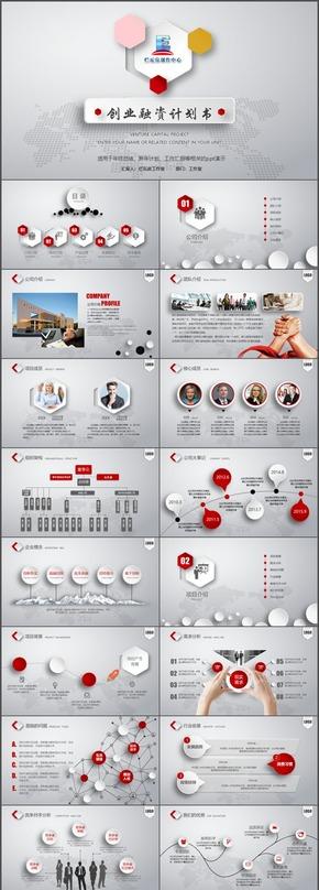 時尚微立體創業、商業計劃書PPT模板