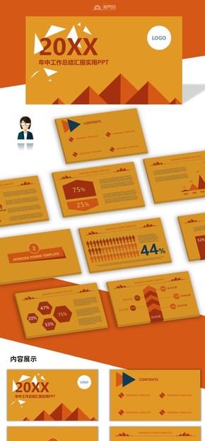橙黃色扁平化商務風工作匯報工作總結PPT模板