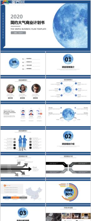 藍色簡約大氣商業計劃書創業融資商業計劃PPT