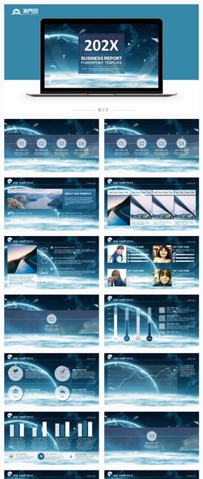 藍色ios風工作匯報工作總結商業匯報PPT模板