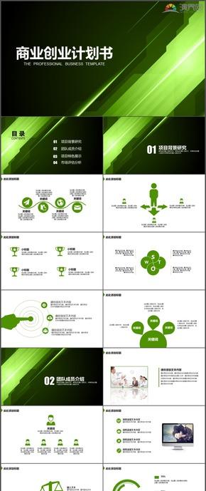 绿色商务商业创业计划书时尚PPT模板128