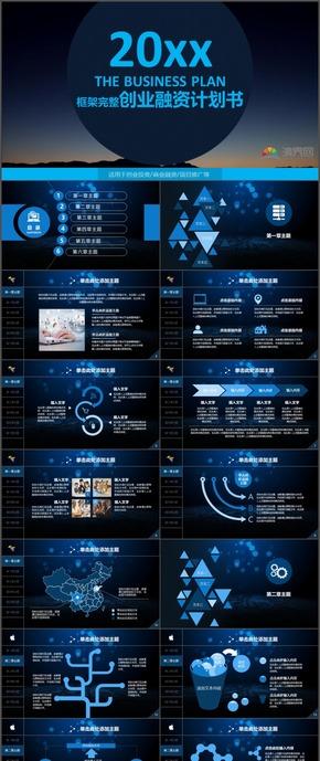 蓝色炫酷商务商业创业融资计划书PPT模板12