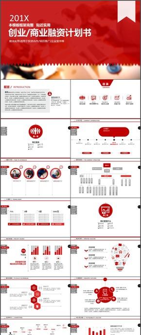 红色创业商业融资计划书时尚ppt模板40