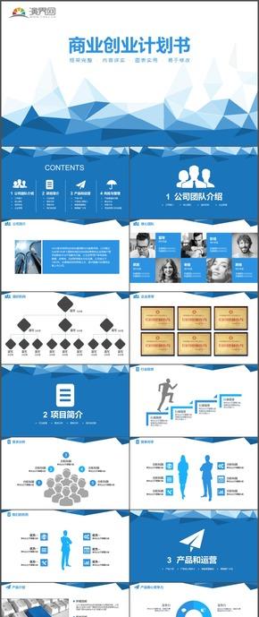 蓝色商业创业计划书计划总结汇报PPT模板129
