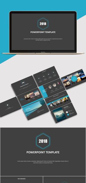 【商務】藍色商務風歐美風簡約風工作匯報企業介紹PPT模板