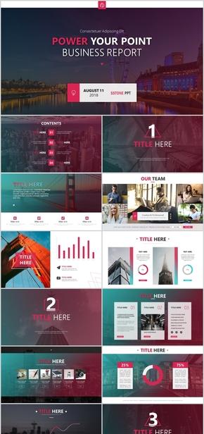 紫红色时尚大气欧美商务PPT通用模板 工作汇报 年终总结 项目策划 商业路演 融资方案 企业简介