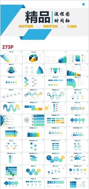 过程步骤演示信息图表PPT模板