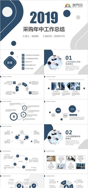 蓝色大气商务采购人员年中总结工作总结工作计划PPT模板