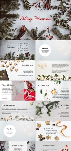 圣诞节主题杂志风清新简约PPT模板