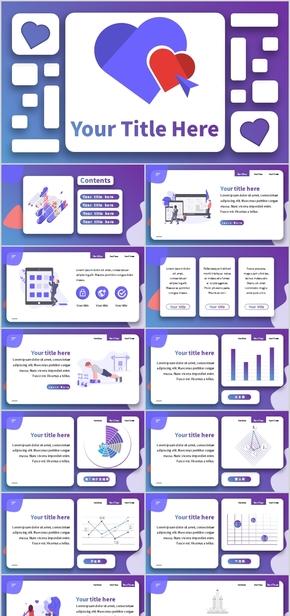 蓝紫色渐变卡片风格PPT模板智能PPT图表