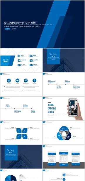复古风格设计商业计划书年终总结汇报PPT模板