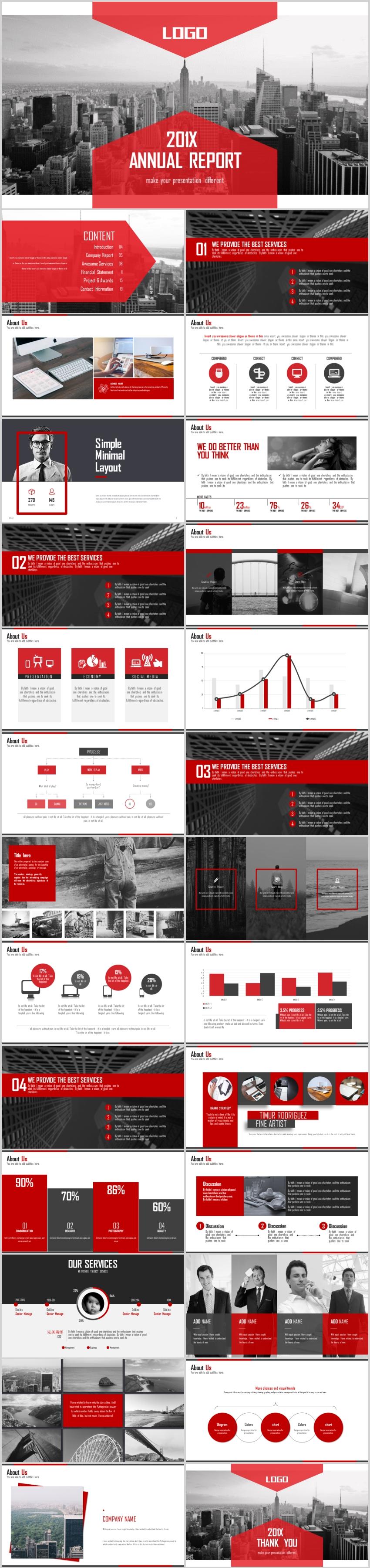 大气红色商务演示创业融资年终汇报PPT模板
