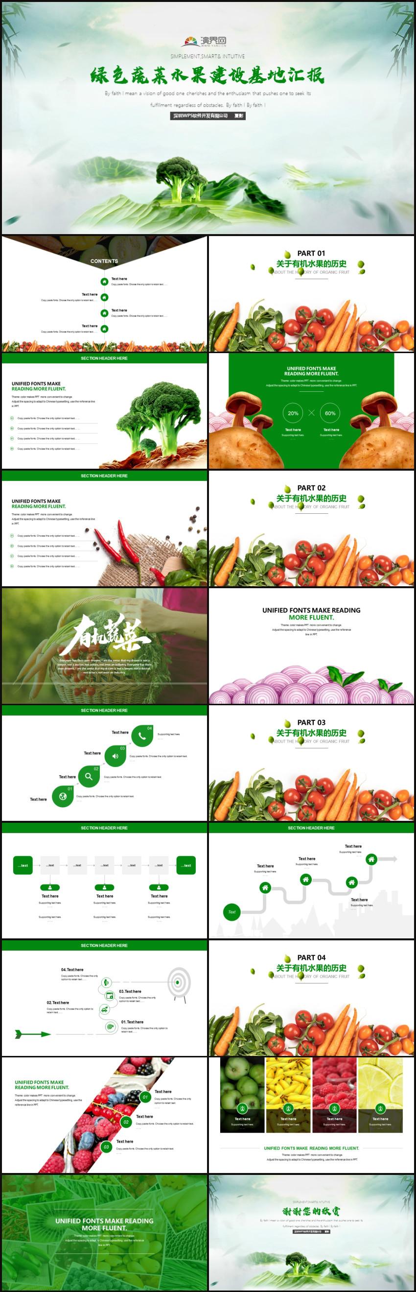 蔬菜水果行业工作总结汇报PPT模板