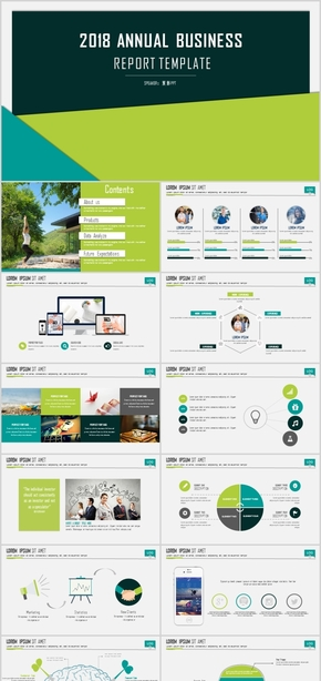 大气扁平化色块创意设计商业计划书PPT模板