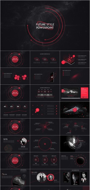 未来科技风一镜到底音效模板(红黄蓝动态静态共六套)