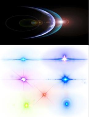 背景全透明镜头彩色光晕素材整合