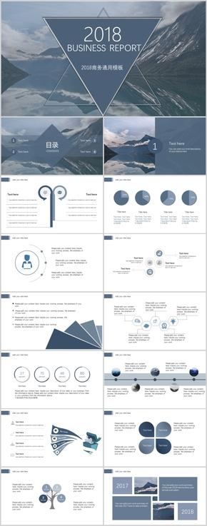 蓝色简约复古商业计划总结通用模板