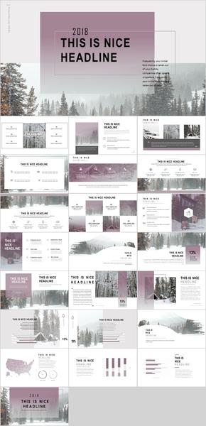精美紫色歐美雜志風格小清新通用ppt模板