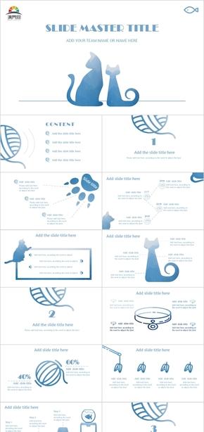 小清新毕业教育简约蓝色宠物猫总结汇报通用卡通清新可爱PPT模板