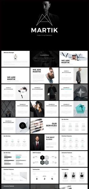 欧美简约公司介绍广告营销策划ppt模板