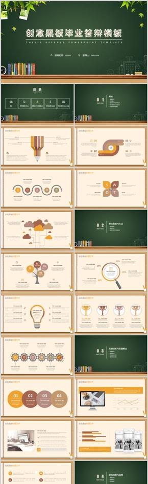 创意黑板毕业答辩PPT模板