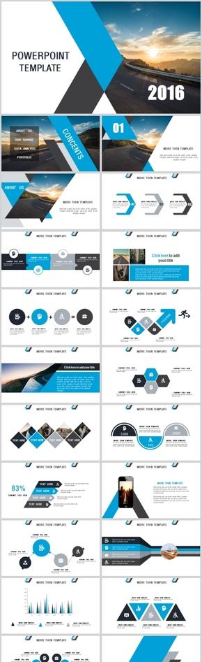 蓝白色高端商务工作汇报总结计划总结PPT模板