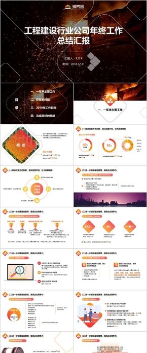 红色橙色工程建设行业公司年终工作总结汇报PPT模板