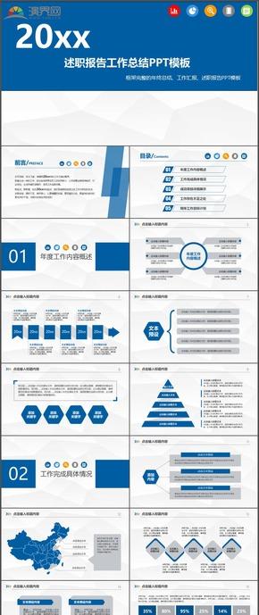 藍色述職報告工作總結計劃總結匯報PPT模板23