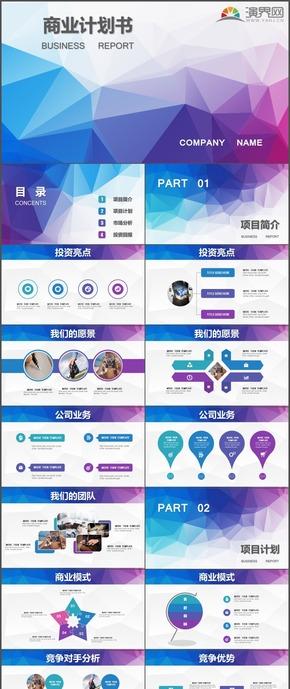 蓝紫计划总结汇报商业计划书PPT模板99