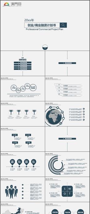 商务创业商业融资计划书简洁PPT模板31
