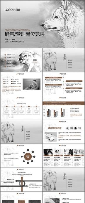 狼性中国风销售管理岗位竞聘简历PPT模板53