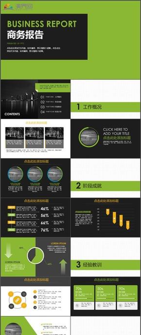 绿色商务报告商务展示计划总结工作总结PPT模板127