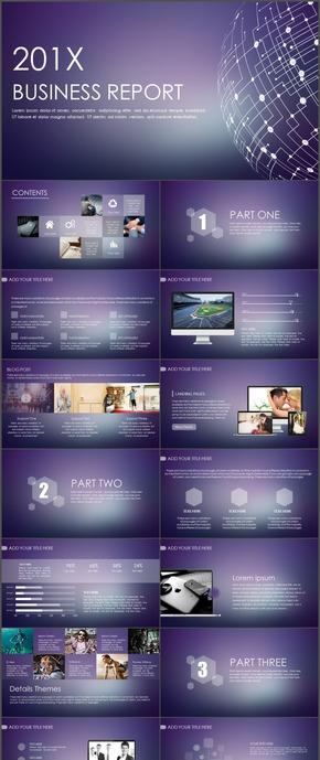 紫色苹果ios地球科技ppt模板15