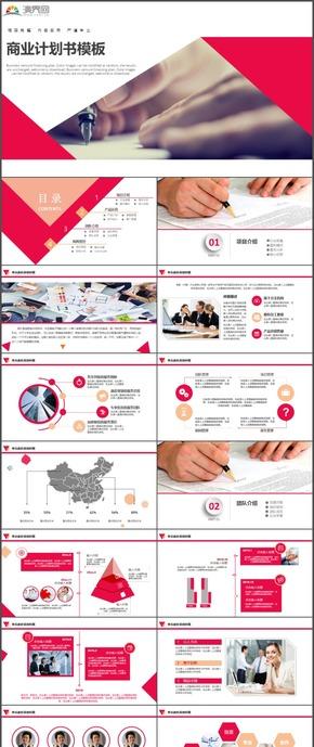 精选红色计划总结汇报商业计划书PPT模板21