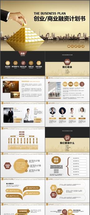 金色商务商业创业融资计划书PPT模板6