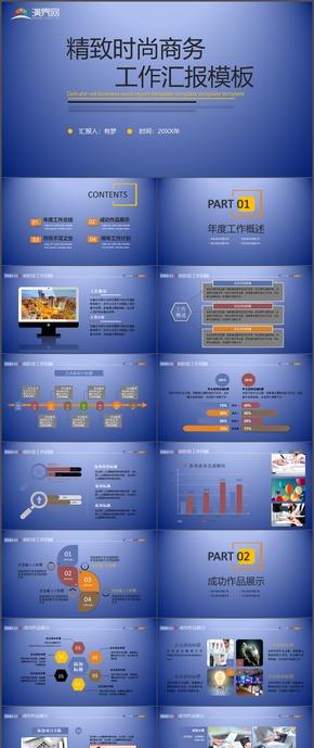 精致时尚商工作计划总结汇报报告实用PPT模板74